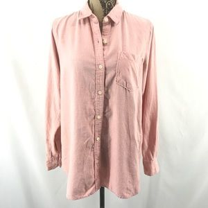 Old Navy The Tunic Shirt Heather Pink Soft Flannel